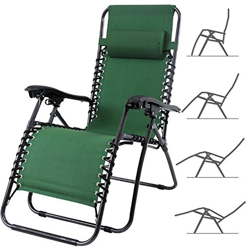 Bakaji sedia gravità zero sdraio da giardino poltrona relax pieghevole salvaspazio tubolari acciaio 22mm reclinabile tessuto in oxford, mare spiaggia piscina arredo esterno (verde)