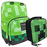 Zaino per bambini Minecraft Creeper Green e set scuola pranzo