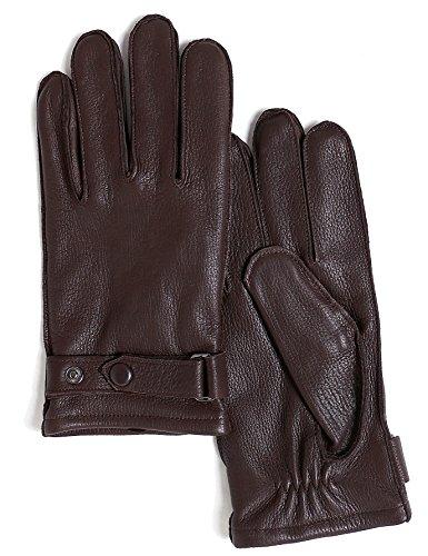 YISEVEN Herren Winter Lederhandschuhe aus Hischleder mit Wolle Warm Gefüttert Elegant Leder Autofahrer Handschuhe, Braun Mittel/9.0