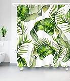 Aitsite 2019 Neueste Duschvorhang Mit Haken Grüne Bananenblätter Wasserdicht Formbeständig Bad Vorhang Waschbar Bad Vorhang Polyester Stoff mit 12 Haken 180x180 cm