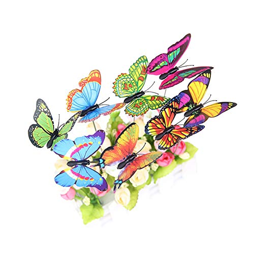 WEISY 25 STÜCKE Gartendekoration Schmetterling Einsatz Pole Simulation Schmetterling Einsatz Pole Farbe Schmetterling Handwerk 7 cm PVC