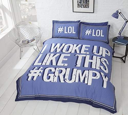 Rapport I Woke up Grumpy Duvet Set, Polyester-Cotton, Blue, Double