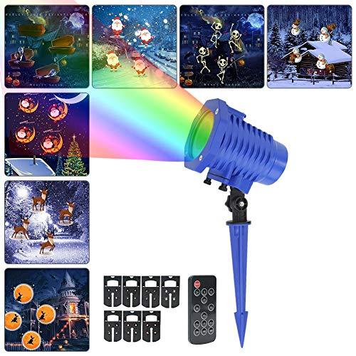 RF Drahtlose Fernbedienung LED Projektor Lichter, Fernbedienung Timer licht Projektor, IP65 wasserdicht 8 Motiven Innen und Außen als Gartenleuchte Projektionslampe für Innen Außen Party Festen, Weih