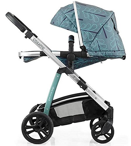 Cosatto wow Travel system with Port bag and footmuff in Fjord Cosatto Includes - Pushchair, Carrycot, Port Car seat, Footmuff, Changing bag and Raincover Suitable from birth up to 15kg (4 years approx.) 'In or out' facing pushchair seat lets them bond with you or enjoy the view. 3