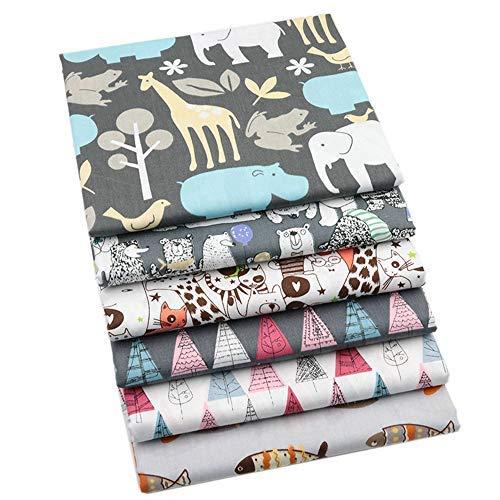 Lot de 6 tissus en coton pour patchwork matelassé et matelassage Motif animaux de dessin animé 40 x 50 cm