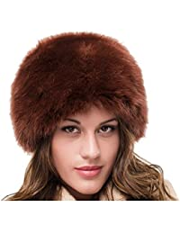 DH LADIES BROWN FAUX FUR WINTER RUSSIAN COSSACK CLOCHE STYLE HAT 98704216e91b