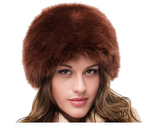 LADIES SUPERB QUALITY BROWN FAUX FUR WINTER RUSSIAN COSSACK CLOCHE