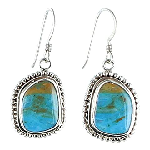 PERUVIAN BLUE OPAL FREE FORM STERLING SILVER EARRINGS #3