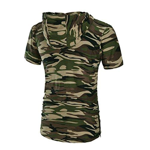 Amlaiworld Sommer Mehr Sorten Farbe Kurzarm T-Shirt, T-Shirt mit Reißverschluss und Kapuze Tarnung
