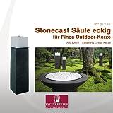 Unbekannt Engels Kerzen Säule für Finca-Kerzen Stonecast Säule eckig 20x20x70 cm anthrazit