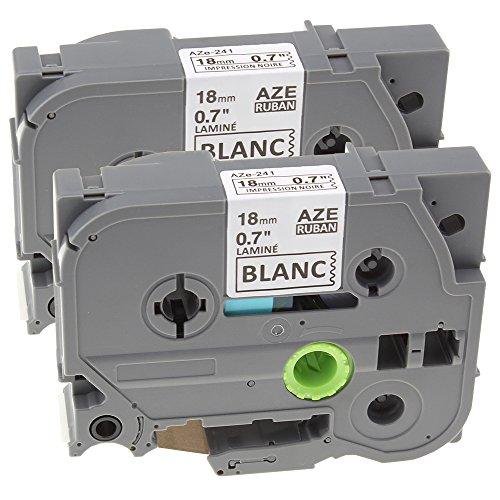 2 Pack Labeling Tape Nastro Cartucce Etichette Adesive Compatibile con Brother TZe-241 / TZ-241 | Nero su Bianco| 18mm x 8m per Brother P-Touch 1750 9400 9600 ST-5