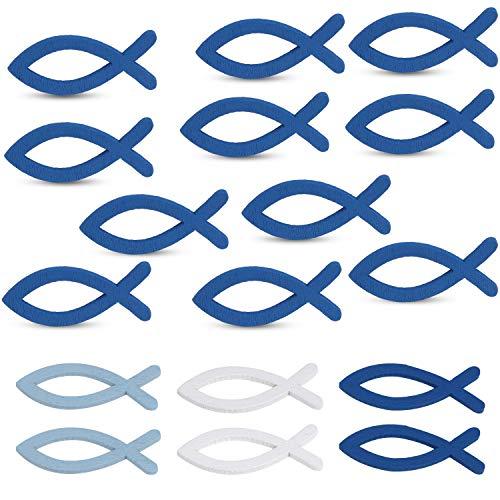 Nabance 100 Stücke Holz Deko Fische Holzfische Taufe Deko Streudeko Taufe Konfirmation Kommunion Deko Holzfischdekoration für Tischdeko,Blau und Weiß