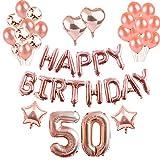 50th Geburtstag Dekorationen Rotgold, Luftballons Party Dekorationen Set, Rose Gold Alles Gute Zum Geburtstag Banner Stern Herz Folie Ballon Konfetti Latex Ballons für Party Supplies (50th)