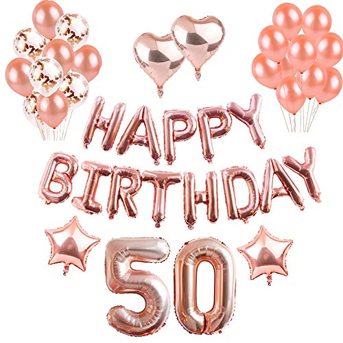(50th Geburtstag Dekorationen Rotgold, Luftballons Party Dekorationen Set, Rose Gold Alles Gute Zum Geburtstag Banner Stern Herz Folie Ballon Konfetti Latex Ballons für Party Supplies (50th))