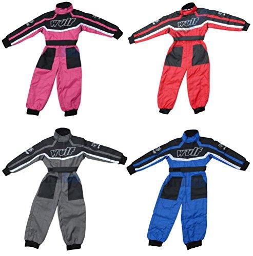 Kinder Kart Anzug WULFSPORT Kinder Hosen + Jersey MX ATV Quad Anzug (M (7-8 Jahre), Blau)