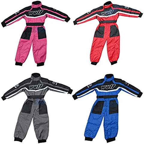 WULFSPORT Junior 1 pezzo Suit Bambino Quad Corsa Suit MX ATV Jersey + Pantaloni Bambini tuta, Rosa (XS (3-4 Anni) - Pink Junior Set
