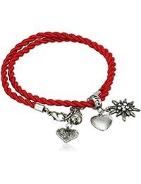 Alpenflüstern Trachten-Wickelarmband Edelweiß - Damen-Trachtenschmuck, Trachtenarmband, Kordel-Armband in Traditionellen Farben DAB026