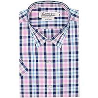 Arihant Pink Checkered 100% Cotton Half Sleeve Regular Fit Formal Shirt for Men (AR806804_38)