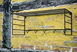 KUHEIGA Garderobe Wandgarderobe B: 76cm in Schwarz mit Ablagefläche Hakenleiste