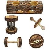 Monland 5 Stücke Natürliche Holz Spielen Kauen Spielzeug für Kleintier Hamster Gerbil Maus - Tunnel, Ball, Glocke Roller, Hantel, Einrad für Klein Tiere Molaren Z?hne Saubere Spielzeug