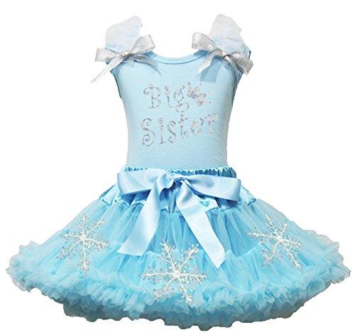 petitebelle Big Sister Kleid Hellblau Shirt Schneeflocke Mädchen Rock Set–74bis 122 Gr. 5-6 Jahre , hellblau (Rock Sisters Big)