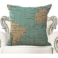 Udane Funda de Almohada con Patrón del Mapa del Mundo