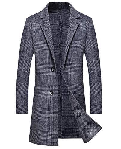 Warm im Herbst und Winter mittleren und Langen Abschnitt Windbreaker Mantel, Männer Plaid Wollmantel, Mode Business Casual (Farbe : Blau, größe : M) Ltd Plaid