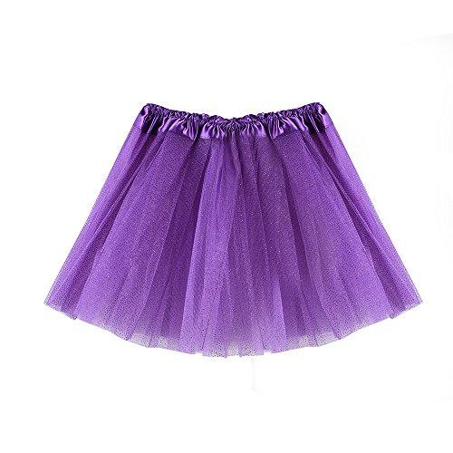 Hirolan Tüllrock Ballettrock Tutu Petticoat Vintage Partykleid Unterkleid Damen Falten Gaze Kurzer Rock Erwachsene Tutu Tanzender Rock Ballklei Abendkleid Zubehör (Einheitsgröße, Lila 3)