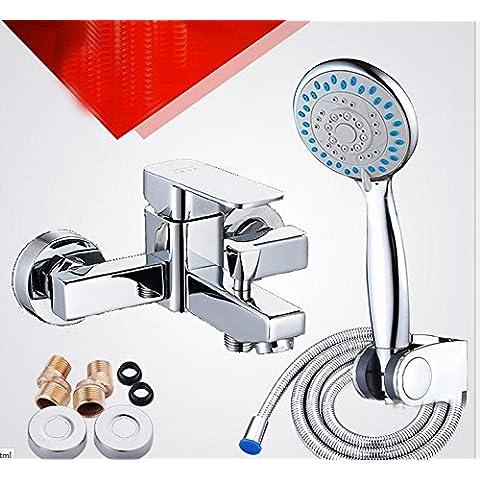 CAC scuro installare miscelazione valvola tripla vasca doccia rubinetto calda e fredda bagno doccia rubinetto set quattro triple, shower faucet + space aluminum booster full set