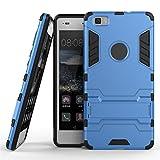 AyiHuan Huawei P8 Lite Hülle, [Outdoor] [Fallschutz] [Dual Layer] Ultra-dünne Bumper und Stoßfest Schutzhülle Case Cover mit Ständer für Huawei P8 Lite 2015 +Staub-Stecker Stylus,Blau