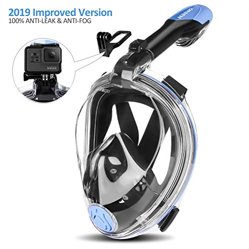 Diving mask full face mask, Foldable snorkel mask Full mask, effortless breathing, No fogging, no penetration of water, 180 ° field of view and camera pose for children and adults