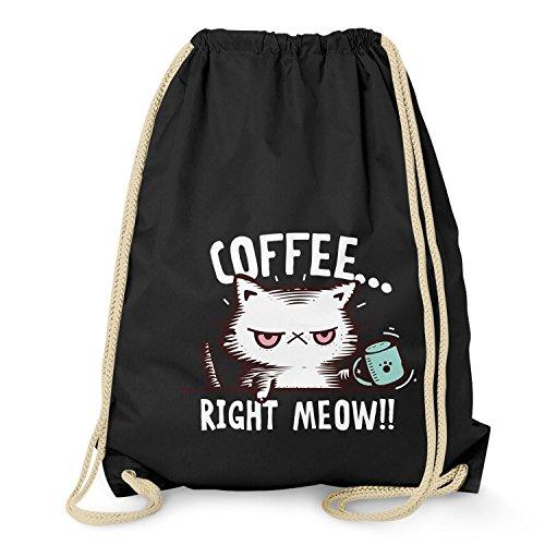 NERDO - Coffee right Meow - Turnbeutel, schwarz -