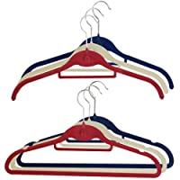 JVL Jubilee Slim Shirt Suit Coat Hangers, Red/Blue/White, Set of 30