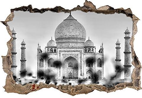 Monocrome, Taj Mahal en étépercée murale en apparence 3D, la taille de la vignette mur ou de porte: 92x62cm, stickers muraux, sticker mural, décoration