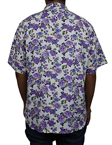 In cotone con stampa floreale hawaiana Beach-Maglietta da uomo, da uomo, con Indian - Mult27