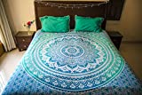 #6: Folkulture Tealtastic Double Bed Pure Cotton Bedsheet with 2 Pillow Covers, Indian Bohemian Bedspread Set, Queen Size Mandala Bedding for Bedroom