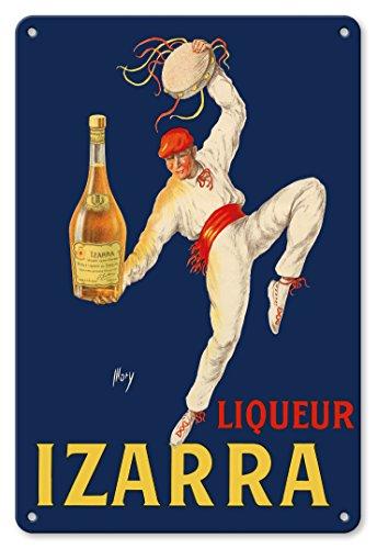 22cm x 30cm Vintage Metallschild - Likör Izarra - Großartiger Likör aus dem Baskenland - Traditioneller baskischer Tänzer mit roten Gerriko (Hüftband) und Txapela (Baskenmütze) - Altes Vintage Retro Werbeplakat von Mory c.1930s