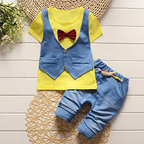 Bekleidung Longra Baby Kinderkleidung für Jungen Handsome T-Shirt Tops Weste + Hosen Gentleman Outfits Outfits Set(0-3Jahre) (100CM 2Jahre, Yellow) (Gentleman-freizeit-set)