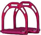 Reitsport Amesbichler AMKA - Staffe in Alluminio, Design Metallizzato, Leggere, con Occhiello, Inserto Antiscivolo Extra Largo, Colore: Rosa
