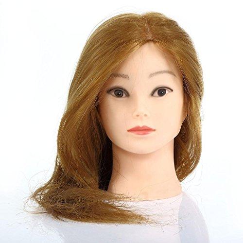 Besmall Tête à coiffurer Professionnel 80% cheveux humains poils de chameau Résistante à haute température 56cm Tête d'exercice pour le Salon Coiffeur