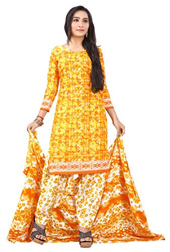 Justkartit Yellow Color Printed Cotton Indian Salwar Kameez Suits Unstiched Dress 2018