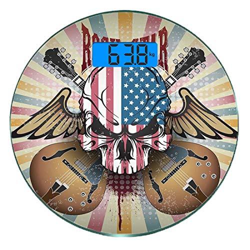 Digitale Präzisionswaage für das Körpergewicht Runde Gitarre Ultra dünne ausgeglichenes Glas-Badezimmerwaage-genaue Gewichts-Maße,Retro Art-Zusammensetzungs-verärgerte Schädel-amerikanische Flaggen-Mu -
