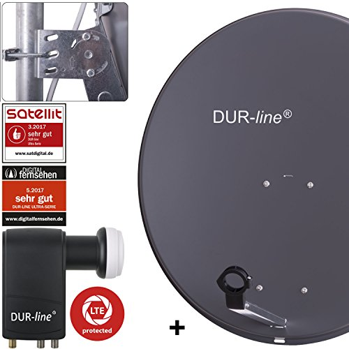 DUR-line MDA 80 Anthrazit - Digiatale 6 Teilnehmer Satellitenschüssel Komplett-Anlage mit UK 104 - Unicable LNB [Camping, Astra 19,2°, DVB-S/S2, Full HD, 4K, 3D]