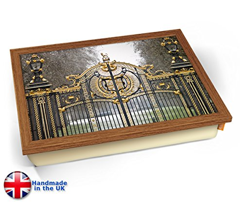 Buckingham Palace London Gate Cushion Lap Tray Kissen Tablett Knietablett Kissentablett - Holz Effekt Rahmen -