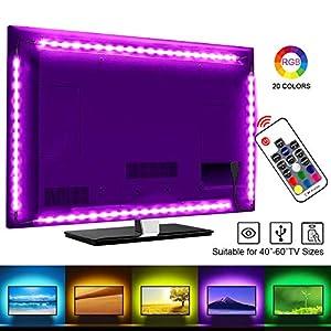 LED TV Hintergrundbeleuchtung, SRUIK 2M LED Stripe RGB LED Fernseher Beleuchtung USB für 40 bis 60 Zoll HDTV, TV-Bildschirm und PC-Monitor