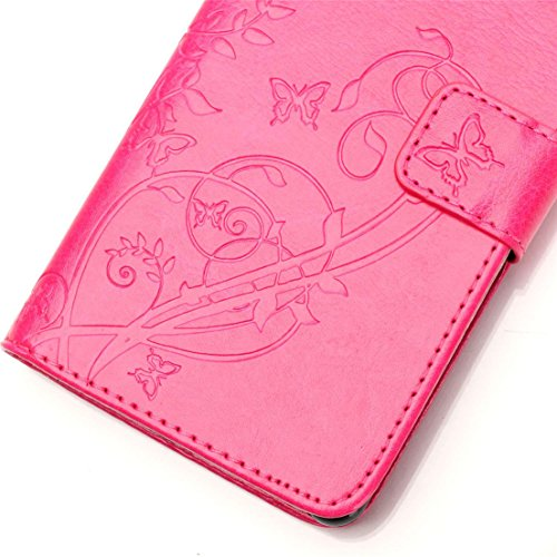 ANNN® Samsung Galaxy S5 PU Cuir Etui Pochette Flip Wallet Housse Design Embossing butterfly Mode Bookstyle Case Cover Souple Fonction Stand Magnetique Dustproof Protective Shell Fente + Quill stylet + A07