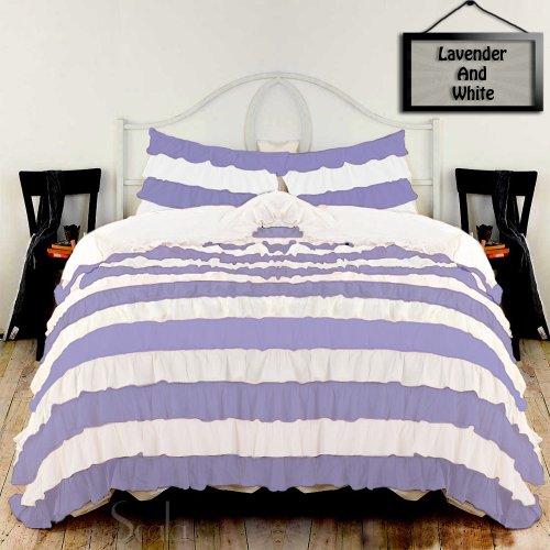 Hotel-Finish Verstellbarer Bettdeckenbezug, Fadenzahl 1500, mehrfarbig, Rüschen, 1 Bettbezug, 2 Kissenbezüge, 100 % ägyptische Baumwolle erhältlich (UK Super King,Solid, Lavendel & Weiß) -