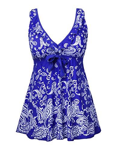 Nonwe Frauen Plus-Size Badeanzug Retro Print Two Piece Pin Tankini Bademode mit Shorts Navy Blau EU 54 (Plus-size-print-rock)