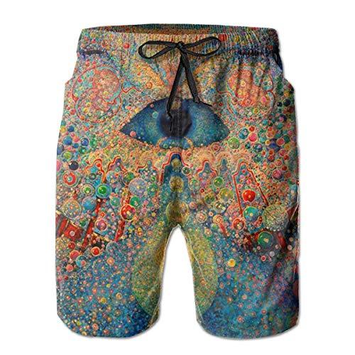 Mens Casual 3D Imprimir Zen Buddha Trippy Gráfico Longitud Media Verano cordón de Playa Shorts Surf Trunks Pantalones