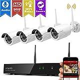 xmartO WOS1384, kabellos Videoüberwachung System, Bewegungsmelder 8 Kanal 4x 960p Kamera HD Innen Außen IP funk WiFi wetterfest Nachtsicht 25m, Plug and Play, App